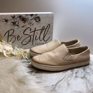 UGG Slip On Sneakers Ivory Perforated Leather, 5.5